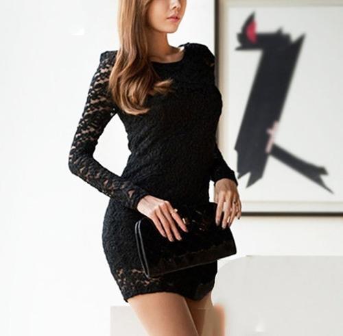 Vestido Graduacion Negro De Encaje Talla M Nuevo En Stock