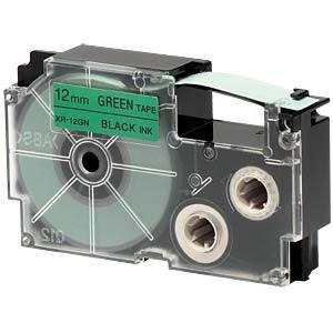 Imagen 1 de 2 de Cinta Para Rotulador Casio Xr-12gn1 12mmx8m Negro/verde