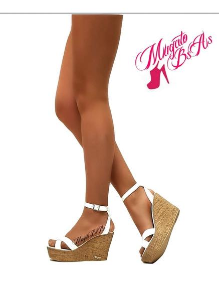 Sandalias Mujer Taco Chino Tiras Cruzadas Charol Mugato-bsas