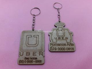 50 Chaveiros Personalizados (uber) Em Mdf: P/ Brindes