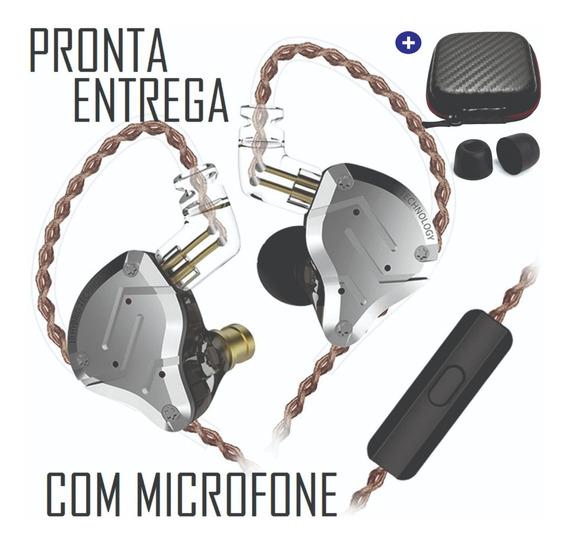 Fone Kz Zs10 Pro Com Microfone Pronta Entrega + Case Espumas