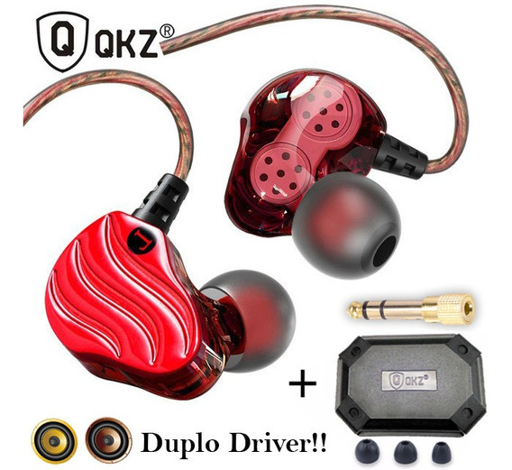 Fone Qkz Kd4 Dual Driver In Ear C/ Microfone Pronta Entrega