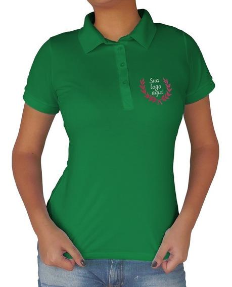 Camisa Gola Polo Feminina Com Bordado Personalizado 4 Unidad