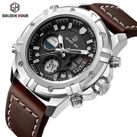 Relógio Golden Hour Masculino Pulseira De Couro - Gh-111