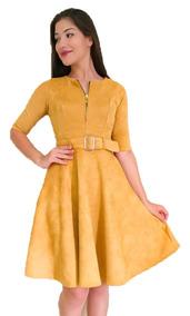 Vestido Suede Rodado Midi Feminino Moda Evangélica Social