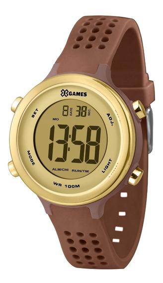 Relógio X-games Feminino Digital Xfppd065 Dourado Marrom