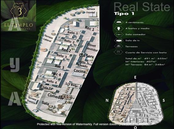 Gran Lujo Y Espacioso Penthouse Condo En Preventa De 4 Recamaras En El T3mplo, Cancun.