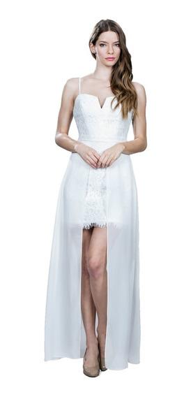 Vestido De Noche Ark & Co. Color Blanco Corto-largo
