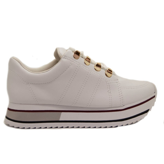 Zapatillas Mujer Cuero Ecológico Blanco Base Alta (71101)