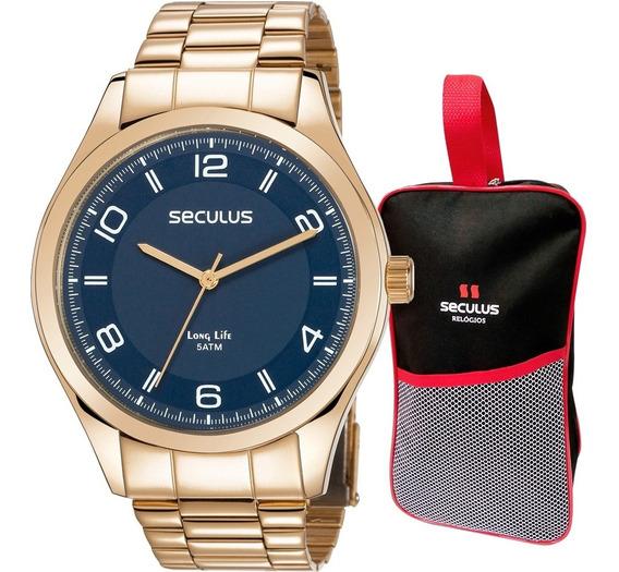 Relógio Seculus Masculino Com Bolsa Brinde Original + Nota