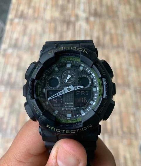 Relogio G - Shock Ga- 100l - 1adr Preto-verde Original