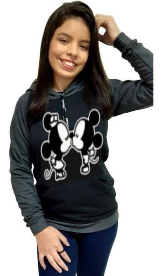 Moletom Frio Minnie Mickey Blusão Blusa Moleton Top Power