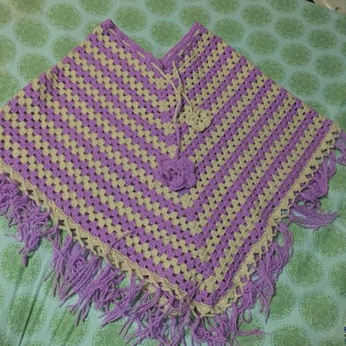 Poncho Para Niña Tejido A Crochet En Lana