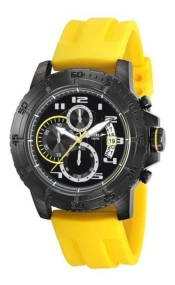 Relógio De Pulso Speedo C/ Caixa Preta E Pulseira Amarela