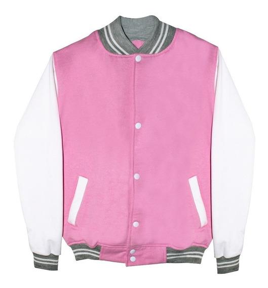 Chamarra Colegio Universitaria Beisbolera Pink Rosa Moda