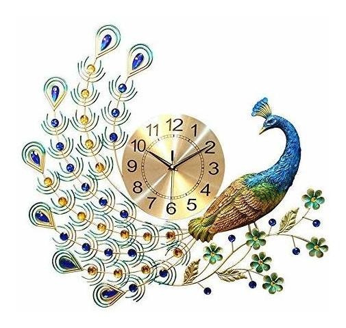 Reloj De Pared Con Diseño De Pavo Real Europeo