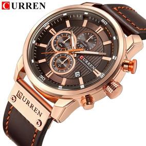Relógio Curren 8291 Funcional Pulseira De Couro Cronógrafo