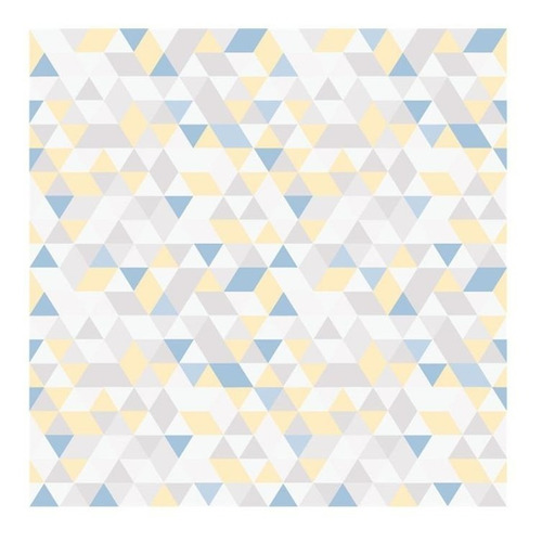 Imagem 1 de 2 de Papel De Parede 7448 Amarelo E Azul 52cm Com 10 Metros