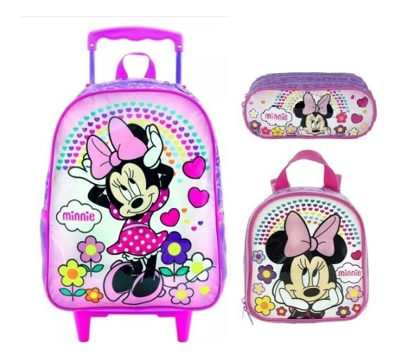 Kit Mochila Rodinha Lanch E Estojo Minnie Daydreaming Xeryus