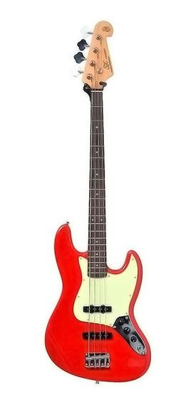 Baixo Sx Sjb 62 Jazz Bass 4 Cordas Passivo Bag Fiesta Red