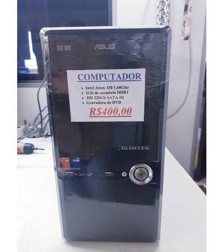 Computador Desktop Atom 330 1.60ghz 2b De Memória Hd 320gb