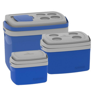 Combo Cooler 3 Caixas Térmicas 32 12 E 5 Litros Soprano Azul