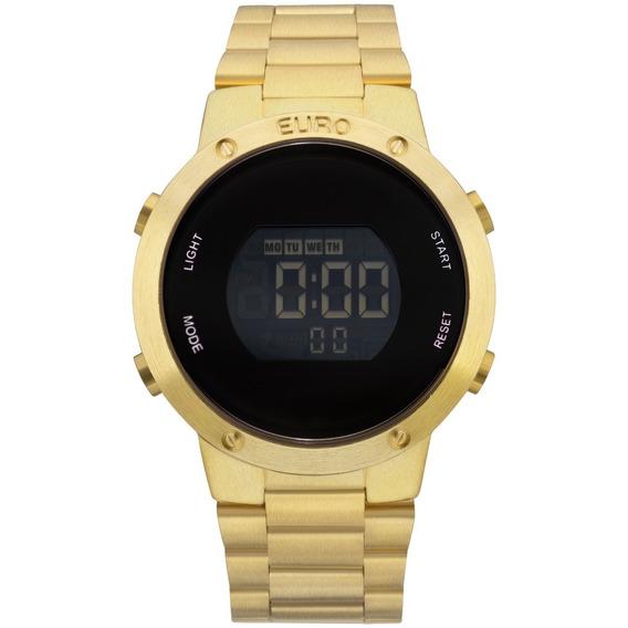 Relógio Dourado Feminino Digital Euro Original Eubj3279aa/4d