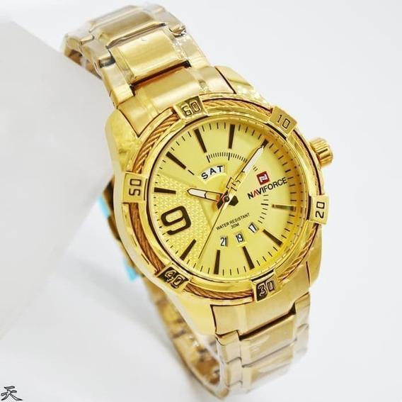 Relógio Masculino Dourado Naviforce Original