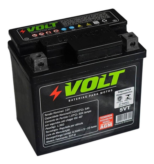 Bateria Moto Cg Titan Biz Nxr Xre 5vt Selada 5 Amperes 12v