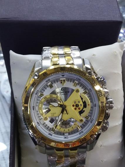 Relógio Hx040b Casio Edifice Ef558 Puls. Mista Branco Lindo