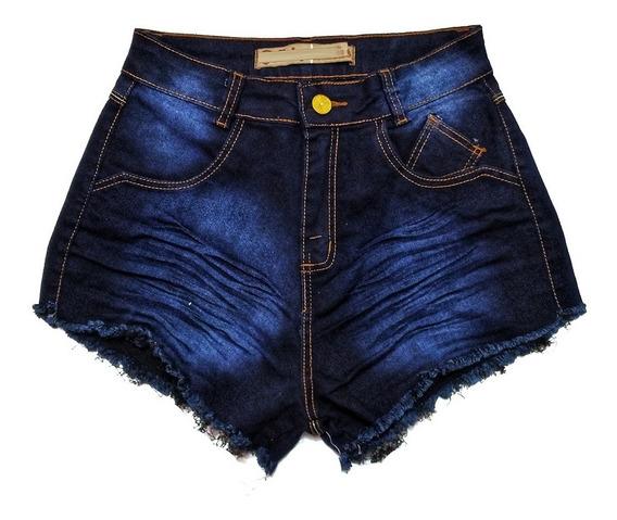 Shorts Jeans Feminino Cós Alto Destroyed St009