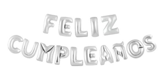 Letrero Feliz Cumpleaños Plata 46 Cm