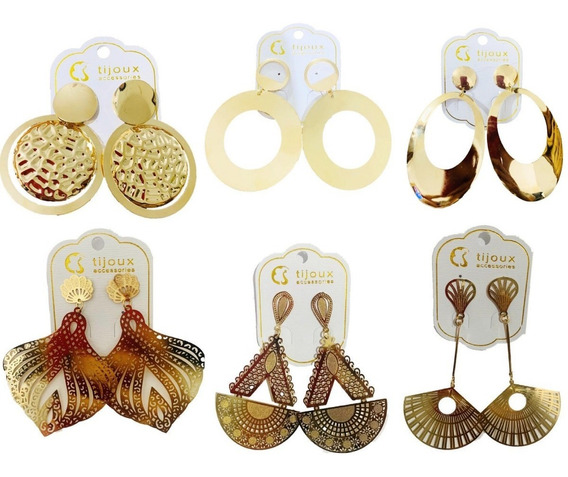 Kit 6 Pares De Brincos Grandes Tijoux Accessories R$5,00 Cda
