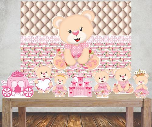 Imagem 1 de 5 de Kit 1 Painel Banner + 8 Displays Festa Ursinha Chá De Bebê