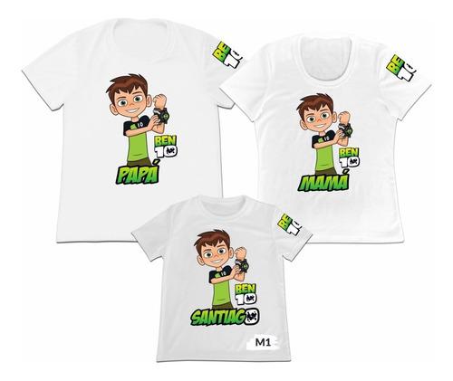 Camiseta Set 3 Familia Mama Papa Hija Ben10 Ben 10 Nombres