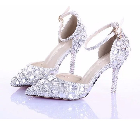 Sapato Prata Cinderela Noiva Debutante Com Cristais Chaton
