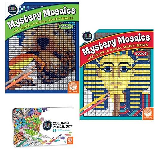 Imagen 1 de 2 de Color By Number Misterio Mosaicos Conjunto: Libros 5-6 Con L