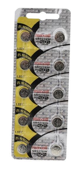 Dez Baterias Pilha Maxell 395 Sr 927 Bateria Relógio