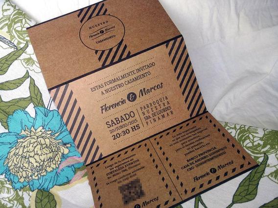 Invitaciones Tarjetas Casamiento 15 Años Kraft