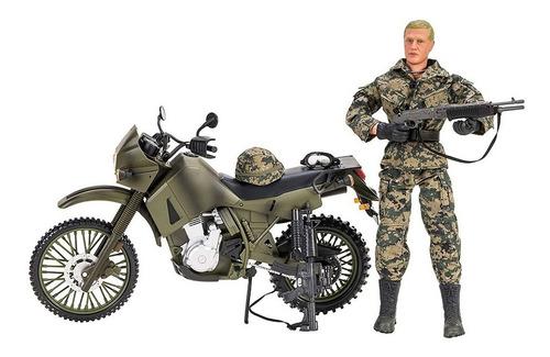 Moto Kawasaki Klr 650 Juguete Grande Con Soldado Articulado