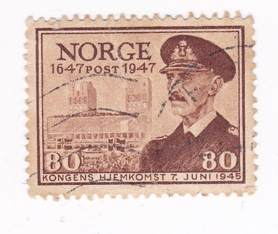 Lt413, Noruega, Rey Haakon Vii, Sello De 1947.