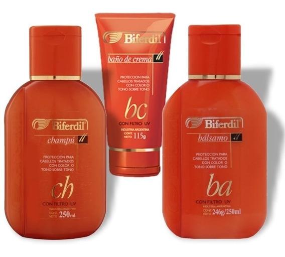 Shampoo+ Balsam + Baño De Crema Biferdil Tratados Con Color