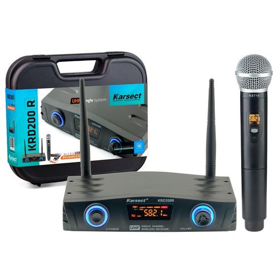 Microfone Sem Fio Karsect Krd200 R Mão Recarregável