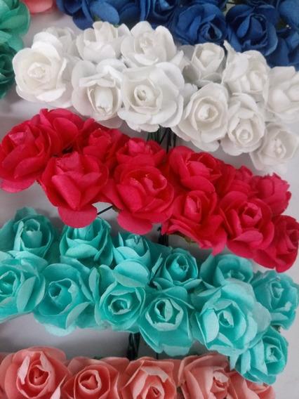 Flores De Papel Con Tallo X 10 Docenas