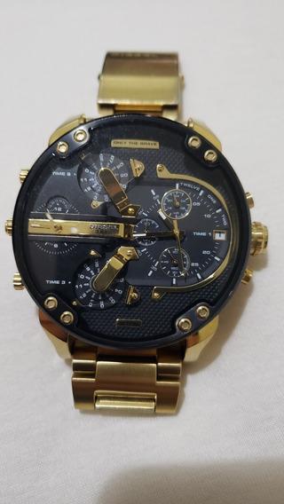 Relógio Diesel Dz7333 Mr. Daddy Dourado 57 Mm 100% Original