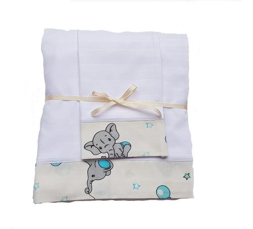 Imagen 1 de 2 de Sábanas Para Bebe Cama Cuna Elefantes Y Globos