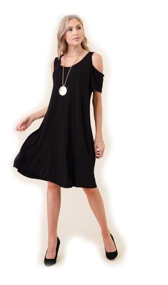 Vestido De Dama Negro Con Apertura En El Hombro
