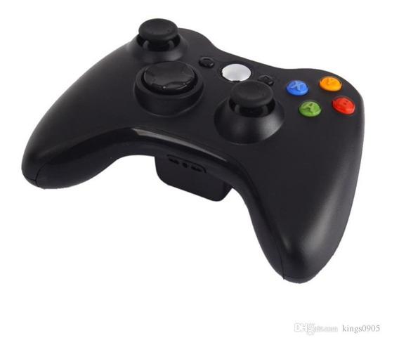 Controle Sem Fio Xbox 360 E Pc Slim Joystick Wireless Preto