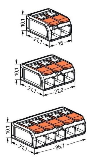Kit Conector Wago Compacto Emenda Modelo 221 6mm - 101505
