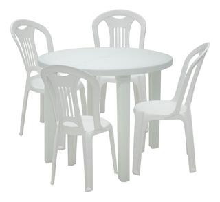 Kit Mesa Redonda Branca Tramontina 92301010 + 4 Cadeiras Bra